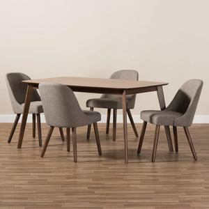 Baxton Studio Cody Mid-Century Modern Light Grey Fabric Upholstered Walnut Finished Wood 5-Piece Dining Set Baxton Studio-0-Minimal And Modern - 5