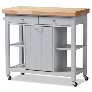 Baxton Studio Hayward Coastal and Farmhouse Light Grey Wood Kitchen Cart Baxton Studio-0-Minimal And Modern - 1