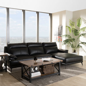 Baxton Studio Rabbie Modern and Contemporary Black Leather Right Facing Chaise 2-Piece Sectional Sofa Baxton Studio-sofas-Minimal And Modern - 5
