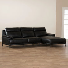 Baxton Studio Rabbie Modern and Contemporary Black Leather Right Facing Chaise 2-Piece Sectional Sofa Baxton Studio-sofas-Minimal And Modern - 6