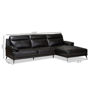 Baxton Studio Rabbie Modern and Contemporary Black Leather Right Facing Chaise 2-Piece Sectional Sofa Baxton Studio-sofas-Minimal And Modern - 7
