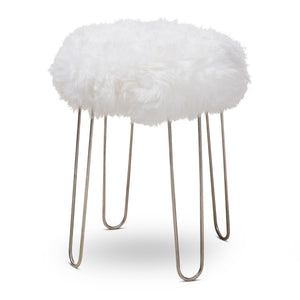 Baxton Studio Alura Modern Glam White Genuine Sheep Skin Ottoman Baxton Studio-ottomans-Minimal And Modern - 1