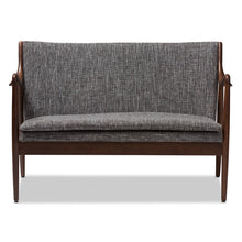Baxton Studio Shakespeare Mid-Century Modern Walnut Wood Grey Fabric Upholstered 2-seater Loveseat Baxton Studio-sofas-Minimal And Modern - 2