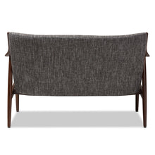 Baxton Studio Shakespeare Mid-Century Modern Walnut Wood Grey Fabric Upholstered 2-seater Loveseat Baxton Studio-sofas-Minimal And Modern - 4