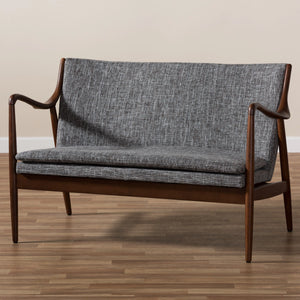 Baxton Studio Shakespeare Mid-Century Modern Walnut Wood Grey Fabric Upholstered 2-seater Loveseat Baxton Studio-sofas-Minimal And Modern - 8