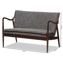 Baxton Studio Shakespeare Mid-Century Modern Walnut Wood Grey Fabric Upholstered 2-seater Loveseat Baxton Studio-sofas-Minimal And Modern - 9