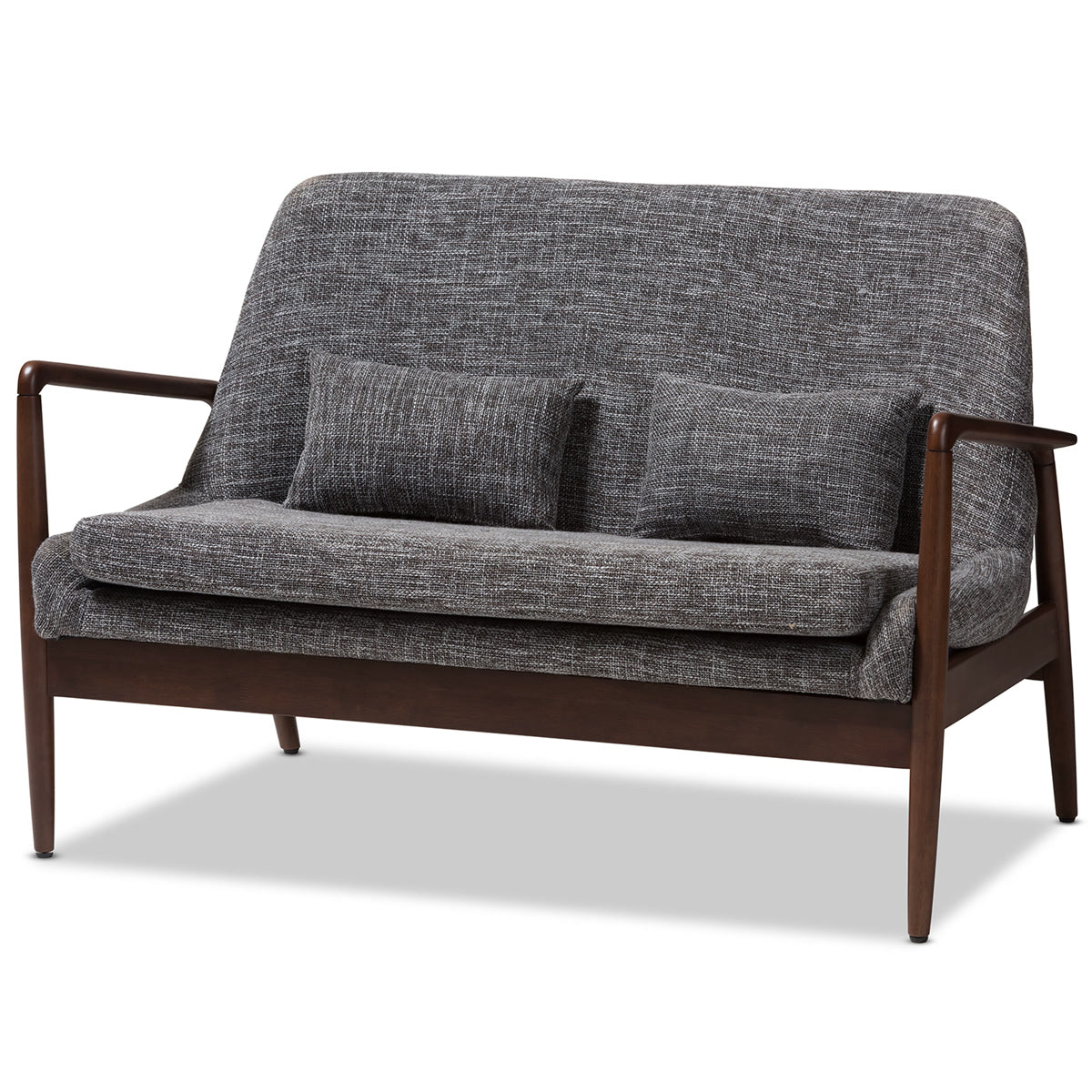 Baxton Studio Carter Mid-Century Modern Walnut Wood Grey Fabric Upholstered 2-seater Loveseat Baxton Studio-sofas-Minimal And Modern - 1