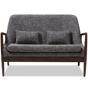 Baxton Studio Carter Mid-Century Modern Walnut Wood Grey Fabric Upholstered 2-seater Loveseat Baxton Studio-sofas-Minimal And Modern - 2