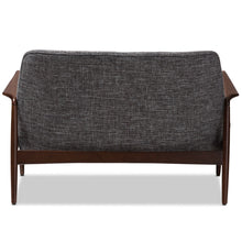 Baxton Studio Carter Mid-Century Modern Walnut Wood Grey Fabric Upholstered 2-seater Loveseat Baxton Studio-sofas-Minimal And Modern - 4