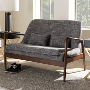 Baxton Studio Carter Mid-Century Modern Walnut Wood Grey Fabric Upholstered 2-seater Loveseat Baxton Studio-sofas-Minimal And Modern - 7