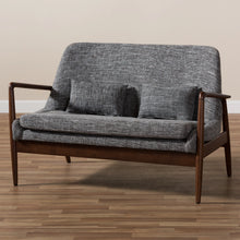 Baxton Studio Carter Mid-Century Modern Walnut Wood Grey Fabric Upholstered 2-seater Loveseat Baxton Studio-sofas-Minimal And Modern - 8