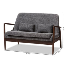 Baxton Studio Carter Mid-Century Modern Walnut Wood Grey Fabric Upholstered 2-seater Loveseat Baxton Studio-sofas-Minimal And Modern - 9