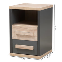 Baxton Studio Pandora Modern and Contemporary Dark Grey and Light Brown Two-Tone 2-Drawer Nightstand Baxton Studio-nightstands-Minimal And Modern - 2