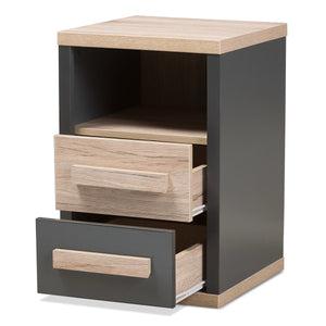 Baxton Studio Pandora Modern and Contemporary Dark Grey and Light Brown Two-Tone 2-Drawer Nightstand Baxton Studio-nightstands-Minimal And Modern - 3
