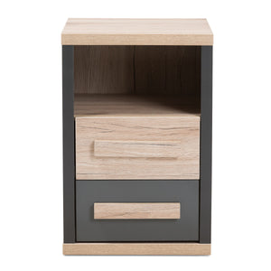 Baxton Studio Pandora Modern and Contemporary Dark Grey and Light Brown Two-Tone 2-Drawer Nightstand Baxton Studio-nightstands-Minimal And Modern - 4