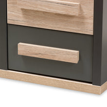 Baxton Studio Pandora Modern and Contemporary Dark Grey and Light Brown Two-Tone 2-Drawer Nightstand Baxton Studio-nightstands-Minimal And Modern - 7