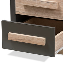 Baxton Studio Pandora Modern and Contemporary Dark Grey and Light Brown Two-Tone 2-Drawer Nightstand Baxton Studio-nightstands-Minimal And Modern - 8