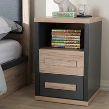 Baxton Studio Pandora Modern and Contemporary Dark Grey and Light Brown Two-Tone 2-Drawer Nightstand Baxton Studio-nightstands-Minimal And Modern - 9