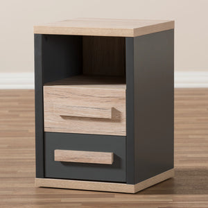 Baxton Studio Pandora Modern and Contemporary Dark Grey and Light Brown Two-Tone 2-Drawer Nightstand Baxton Studio-nightstands-Minimal And Modern - 10
