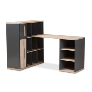 Baxton Studio Pandora Modern and Contemporary Dark Grey and Light Brown Two-Tone Study Desk with Built-in Shelving Unit Baxton Studio-Desks-Minimal And Modern - 1