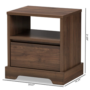 Baxton Studio Burnwood Modern and Contemporary Walnut Brown Finished Wood 1-Drawer Nightstand Baxton Studio-nightstands-Minimal And Modern - 2