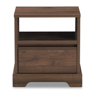 Baxton Studio Burnwood Modern and Contemporary Walnut Brown Finished Wood 1-Drawer Nightstand Baxton Studio-nightstands-Minimal And Modern - 4