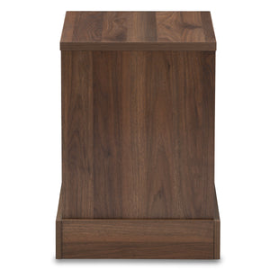 Baxton Studio Burnwood Modern and Contemporary Walnut Brown Finished Wood 1-Drawer Nightstand Baxton Studio-nightstands-Minimal And Modern - 5