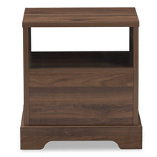 Baxton Studio Burnwood Modern and Contemporary Walnut Brown Finished Wood 1-Drawer Nightstand Baxton Studio-nightstands-Minimal And Modern - 6