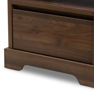 Baxton Studio Burnwood Modern and Contemporary Walnut Brown Finished Wood 1-Drawer Nightstand Baxton Studio-nightstands-Minimal And Modern - 7