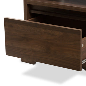 Baxton Studio Burnwood Modern and Contemporary Walnut Brown Finished Wood 1-Drawer Nightstand Baxton Studio-nightstands-Minimal And Modern - 8