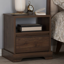 Baxton Studio Burnwood Modern and Contemporary Walnut Brown Finished Wood 1-Drawer Nightstand Baxton Studio-nightstands-Minimal And Modern - 9