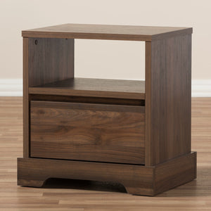Baxton Studio Burnwood Modern and Contemporary Walnut Brown Finished Wood 1-Drawer Nightstand Baxton Studio-nightstands-Minimal And Modern - 10