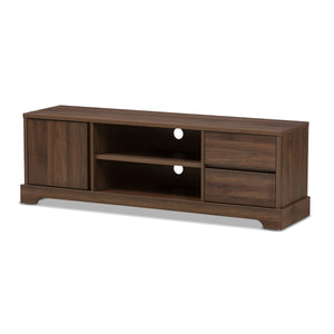 Baxton Studio Burnwood Modern and Contemporary Walnut Brown Finished Wood TV Stand Baxton Studio-TV Stands-Minimal And Modern - 1