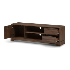 Baxton Studio Burnwood Modern and Contemporary Walnut Brown Finished Wood TV Stand Baxton Studio-TV Stands-Minimal And Modern - 2