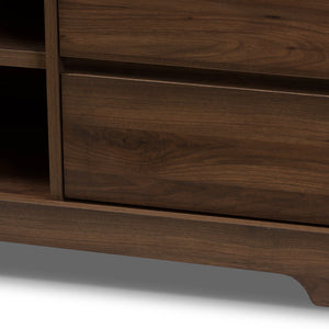 Baxton Studio Burnwood Modern and Contemporary Walnut Brown Finished Wood TV Stand Baxton Studio-TV Stands-Minimal And Modern - 5