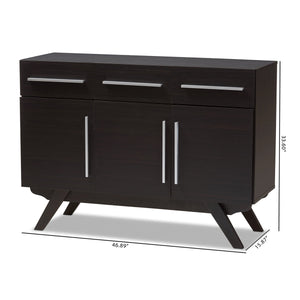 Baxton Studio Ashfield Mid-Century Modern Espresso Brown Finished Wood 3-Drawer Sideboard Baxton Studio-0-Minimal And Modern - 3