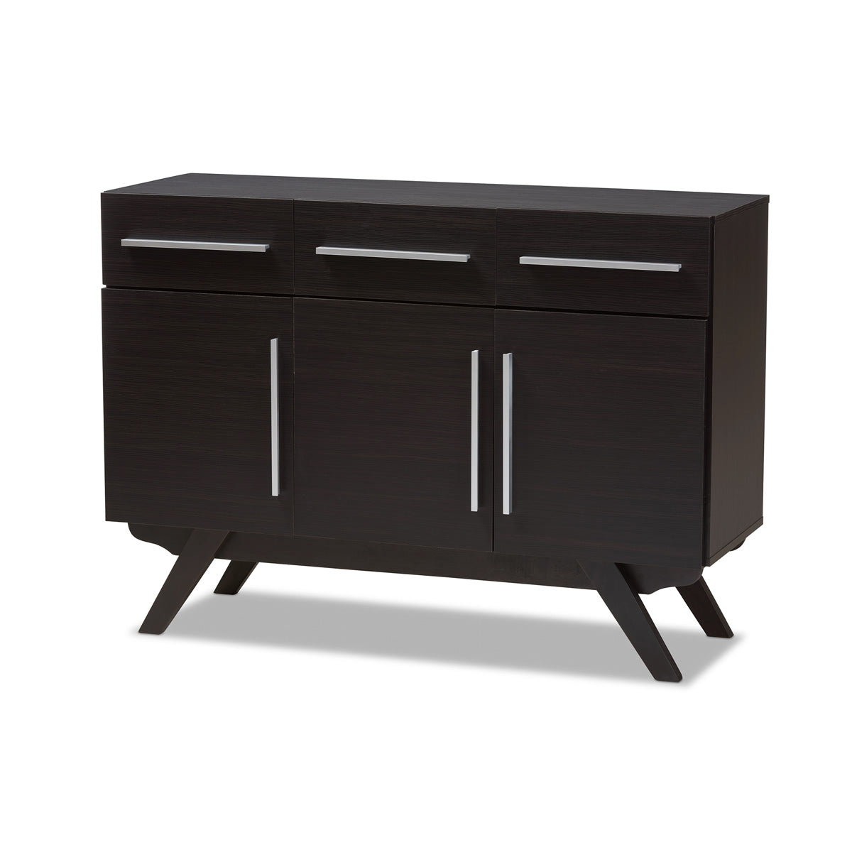 Baxton Studio Ashfield Mid-Century Modern Espresso Brown Finished Wood 3-Drawer Sideboard Baxton Studio-0-Minimal And Modern - 1