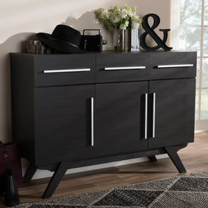 Baxton Studio Ashfield Mid-Century Modern Espresso Brown Finished Wood 3-Drawer Sideboard Baxton Studio-0-Minimal And Modern - 11