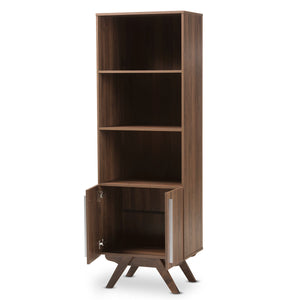 Baxton Studio Ashfield Mid-Century Modern Walnut Brown Finished Wood Bookcase Baxton Studio-0-Minimal And Modern - 2
