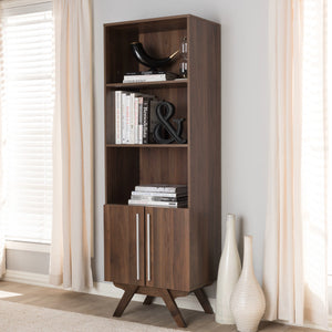 Baxton Studio Ashfield Mid-Century Modern Walnut Brown Finished Wood Bookcase Baxton Studio-0-Minimal And Modern - 7
