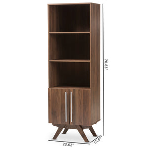 Baxton Studio Ashfield Mid-Century Modern Walnut Brown Finished Wood Bookcase Baxton Studio-0-Minimal And Modern - 9