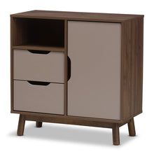 Baxton Studio Britta Mid-Century Modern Walnut Brown and Grey Two-Tone Finished Wood Sideboard Baxton Studio-0-Minimal And Modern - 1
