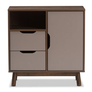 Baxton Studio Britta Mid-Century Modern Walnut Brown and Grey Two-Tone Finished Wood Sideboard Baxton Studio-0-Minimal And Modern - 4