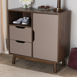 Baxton Studio Britta Mid-Century Modern Walnut Brown and Grey Two-Tone Finished Wood Sideboard Baxton Studio-0-Minimal And Modern - 9