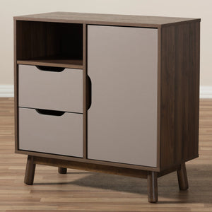 Baxton Studio Britta Mid-Century Modern Walnut Brown and Grey Two-Tone Finished Wood Sideboard Baxton Studio-0-Minimal And Modern - 10