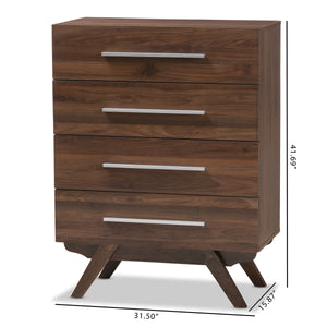 Baxton Studio Auburn Mid-Century Modern Walnut Brown Finished Wood 4-Drawer Chest Baxton Studio-Dresser-Minimal And Modern - 2