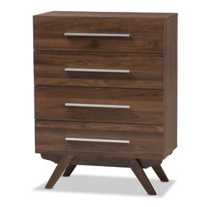 Baxton Studio Auburn Mid-Century Modern Walnut Brown Finished Wood 4-Drawer Chest Baxton Studio-Dresser-Minimal And Modern - 1