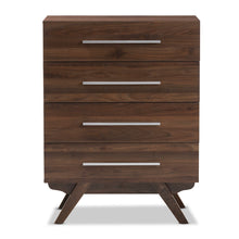Baxton Studio Auburn Mid-Century Modern Walnut Brown Finished Wood 4-Drawer Chest Baxton Studio-Dresser-Minimal And Modern - 4
