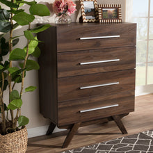 Baxton Studio Auburn Mid-Century Modern Walnut Brown Finished Wood 4-Drawer Chest Baxton Studio-Dresser-Minimal And Modern - 9