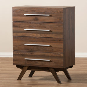 Baxton Studio Auburn Mid-Century Modern Walnut Brown Finished Wood 4-Drawer Chest Baxton Studio-Dresser-Minimal And Modern - 10